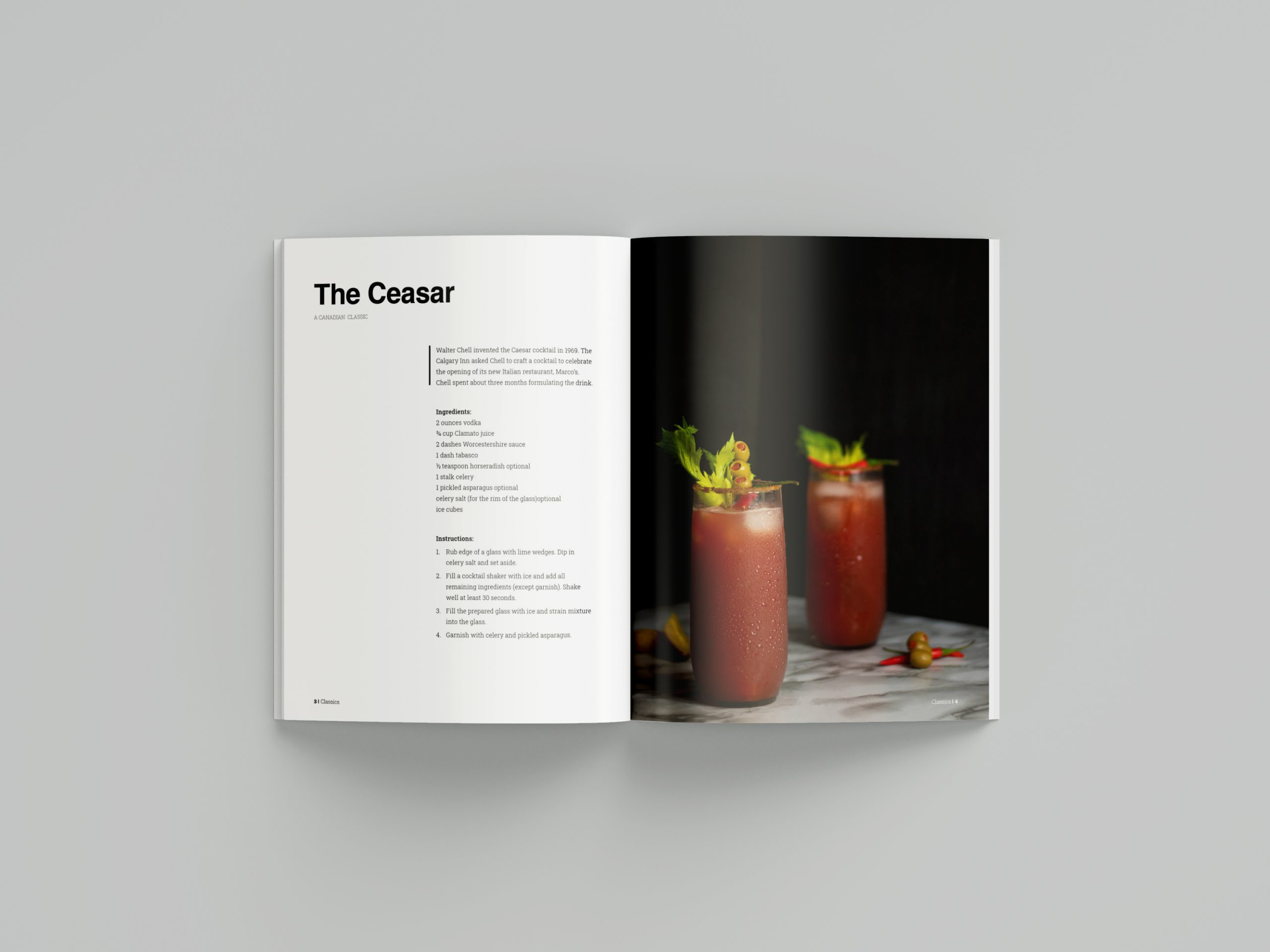 Recipe book magazine open on a blank surface