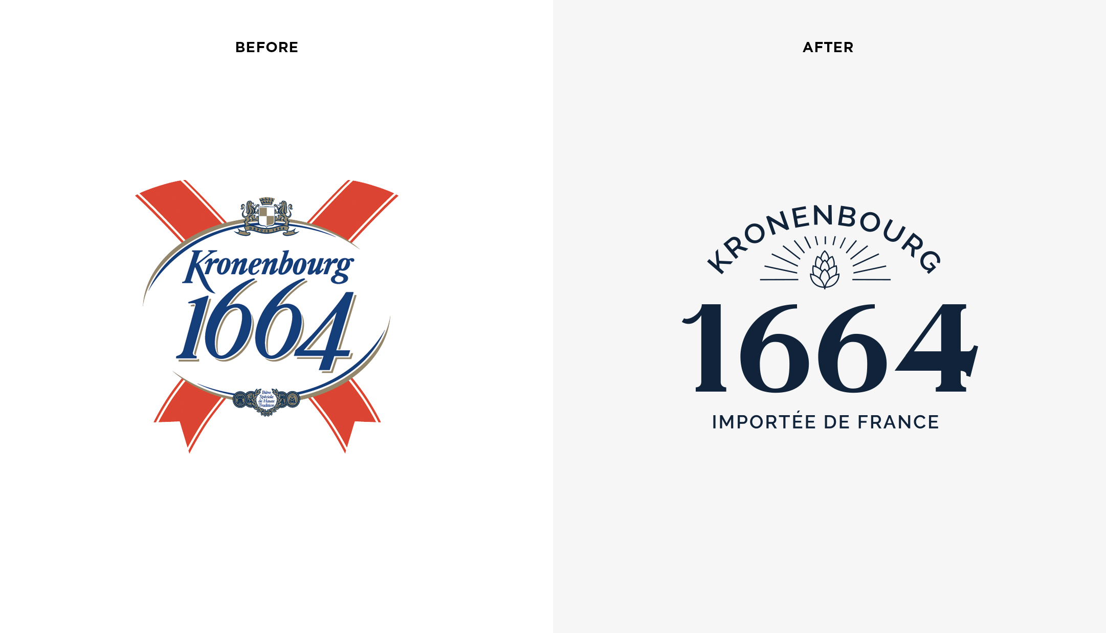 Logo comparison from old 1664 logo to new